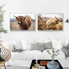 nordic yak oxen wand bilder für wohnzimmer highland kuh wand kunst leinwand malerei poster und drucke cattle skandinavischen decor