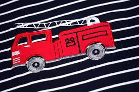 Striped Fire Truck Girls Boys Pajamas 2 Piece 100% Cotton Kids ...