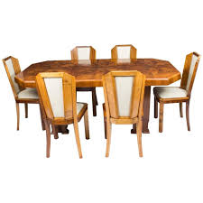 1930s Art Deco Burr Walnut Dining Table Six Chairs For Sale