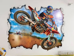motorcross dirt bike ktm wall vinyl poster sticker bed play