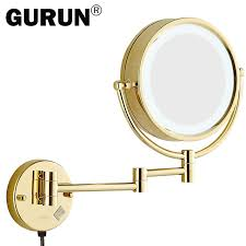 gurun led lighted wall mount makeup mirror with 10x magnification