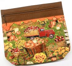 Caledonia Pumpkin Patch by More2luv Fall In The Pumpkin Patch Cross Stitch Embroidery Project Bag