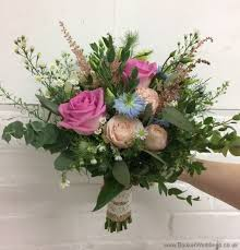 Save Rustic Bridal Bouquet In Pink Cream And Blue