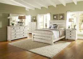 Willow Casual Distressed White Wood Bedroom Set W King Slat Bed Bedrooms The Classy Home Best Deal Furniture