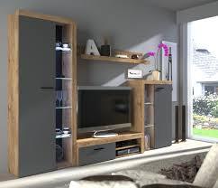 wohnwand rumba anbauwand wohnkombi wohnzimmer grau eiche lefkas matt