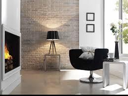 InteriorAdmirable Brick Wall Living Room Ideas Using Round Black Chair Also Tripiod Legs Table