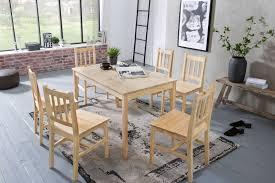 esszimmer set emil 7 teilig kiefer holz landhaus stil 120 x 73 x 70 cm natur essgruppe 1 tisch 6 stühle tischgruppe esstischset 6 personen