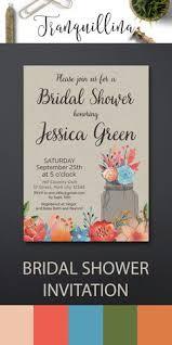 Floral Bridal Shower Invitation Rustic Bridal Shower Invitation