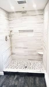 our finished walk in shower walls florim usa 6x24 cut in half