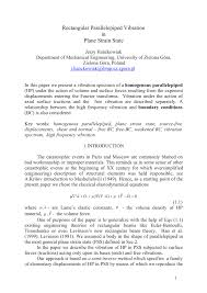 100 Rectangular Parallelepiped PDF Vibration In Plane Strain State
