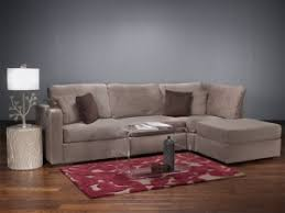 Four Cushion Chaise Sectional With Taupe Rhinoplush Covers