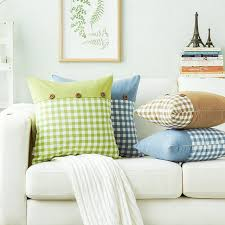 coussin pour canapé bleu café plaid polyester de noix de coco bouton coussins pour
