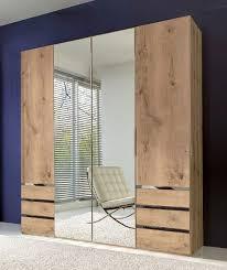 kleiderschrank level schlafzimmerschrank 200cm plankeneiche mit schubladen spiegeltüren 15727