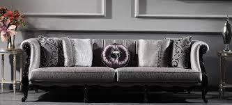 casa padrino luxus barock wohnzimmer sofa silber schwarz 256 x 90 x h 84 cm edle barock möbel