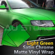 Car Fancy Vinyl Film Satin Matte Bright Green Ice Chrome Wrap ...