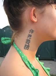 Kanji Symbols Side Neck Tattoo