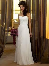 Side Draped Strapless A line Chiffon Simple Reception Wedding Dress