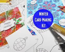 Printable DIY Card Making Kit Winter Christmas Themed Digital Stamps Make Your Own