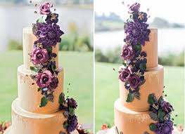 Purple Floral Wedding Cake With Antiqued Gold Effects By Cakes Beth Samantha Ward Fine