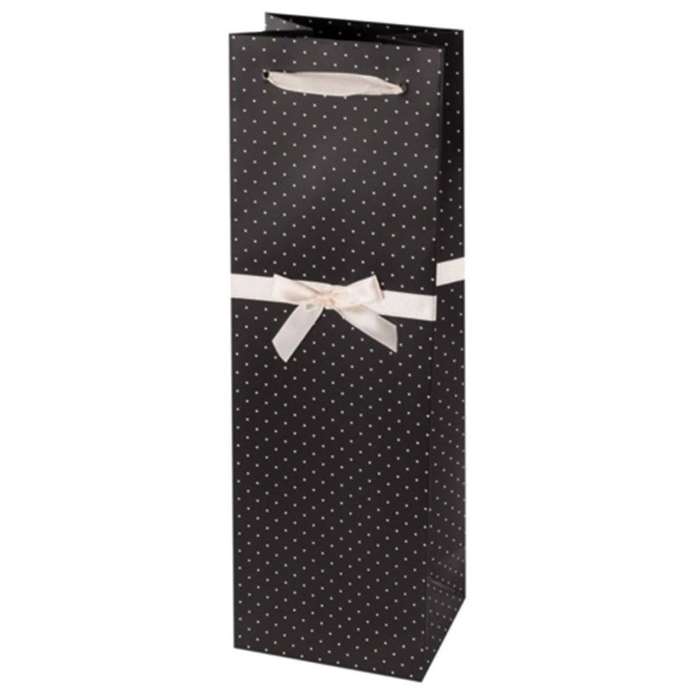True Fabrications Elegant Paper Wine Bag - Black and White