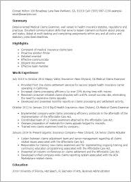 1 Medical Claims Examiner Resume Templates Try Them Now