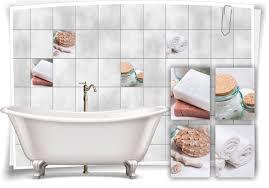 fliesen aufkleber spa wellness muscheln seife handtücher glas braun bad wc deko