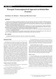 Orbital Floor Fracture With Entrapment by Preseptal Transconjunctival Approach In Orbital Rim Fracture Pdf