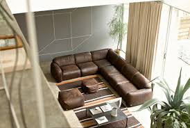 Brown Leather Couch Living Room Ideas by L Shape Dark Brown Leather Sofa With Square Black Table On The