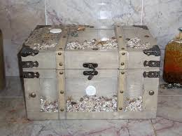 Wedding Card Holder Box Beach Seaside Chest Rustic Wood Trunk Vintage Style Keepsake Ivory Beige Gray Sea Shell Memory