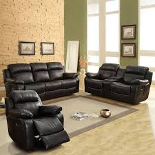 weston home darrin leather reclining sofa set with console black