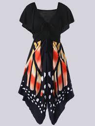 mandarin xl plus size empire waist butterfly pattern dress