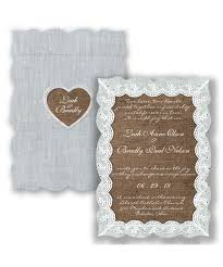 Eyelet Lace Burlap Wedding Invitation Rustic Antique Heart Die Cut At Invitations By Davids Bridal