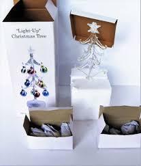 GLASS XMAS Tree LIGHTED 12 Ornaments Tabletop Christmas