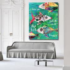 100 Pop Art Home Decor Mixed Media Fish Canvas Print