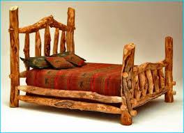 Log Cabin Style Bedroom With Cedar Wood King Bed Frame Designs Rustic Lodge Bedding Set
