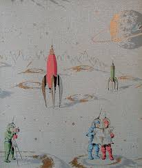 Space Age From The Haunted Lamp FANTASTIC Vintage 50s Wallpaper