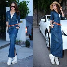 Online Shop Spring Summer Dress 2017 European Style Women Fashion Long Denim Jeans Dresses Sexy V Neck Bodycon With Belt Q05
