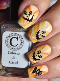 Top Halloween Candy 2013 by Colores De Carol Candy Corn Nails Water Marble