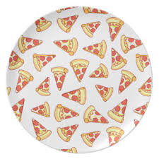Pepperoni Pizza Slice Drawing Pattern Plate