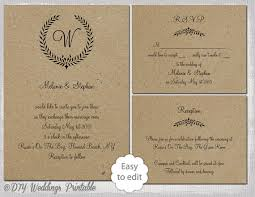 Rustic Wedding Invitation Set Leaf Garland Printable Monogram Template Suite Editable Word Digital Download