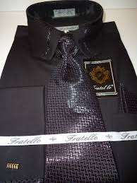 black french cuff dress shirt w new style collar designer