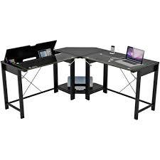 palomar l shaped computer desk black metal and glass paper