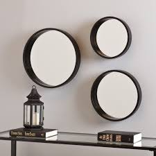 Modern Wall Mirror Set Black 3 Circular Varying Size Decorative Round Mirrors HollyMartin