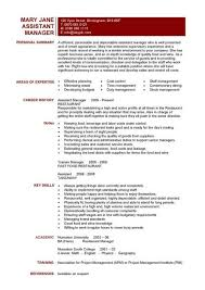 Restaurant Assistant Manager Resume Templates Cv Example Job With
