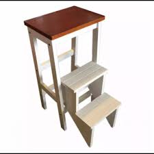 Kitchen Step Stool/Steps Chair Seat Table Wooden Folding (White)