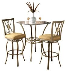 3 Piece Bar Height Patio Bistro Set by Brookside 3 Piece Bistro Set Transitional Indoor Pub And
