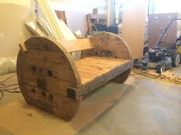 diy bench made out of large wooden spool diy woodenspool bench