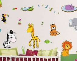 Funny Jungle Kids Cartoon Wallpapers Stickers Murals In Bedroom Ideas
