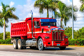 100 Red Dump Truck QUINTANA ROO MAY 16 2017 Kenworth T800 At Stock