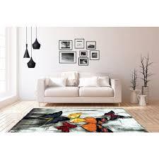 teppich kurzflor schmetterling design modern bunt blau rot orange gelb 80cm x 150cm